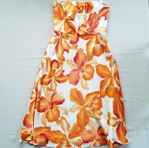 Banana Republic 100% Silk Tropical Hibiscus Dress